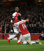 Arsenal's Ainsley Maitland-Niles celebrates scoring his side's second goal with Pierre-Emerick Aubameyang<br /> <br /> Photographer Rob Newell/CameraSport<br /> <br /> Football - UEFA Europa League Round of 16 Leg 2 - Arsenal v Rennes - Thursday 14th March 2019 - The Emirates - London<br />  <br /> World Copyright © 2018 CameraSport. All rights reserved. 43 Linden Ave. Countesthorpe. Leicester. England. LE8 5PG - Tel: +44 (0) 116 277 4147 - admin@camerasport.com - www.camerasport.com