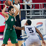 Panathinaikos's Alexandros KYRITSIS (L) during their Two Nations Cup basketball match Fenerbahce Ulker between Panathinaikos at Abdi Ipekci Arena in Istanbul Turkey on Sunday 02 October 2011. Photo by TURKPIX