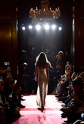 A model on the catwalk at the Julien Macdonald Autumn/Winter 2017 London Fashion Week show at Goldsmiths' Hall, London. Photo credit should read: Doug Peters/ EMPICS Entertainment