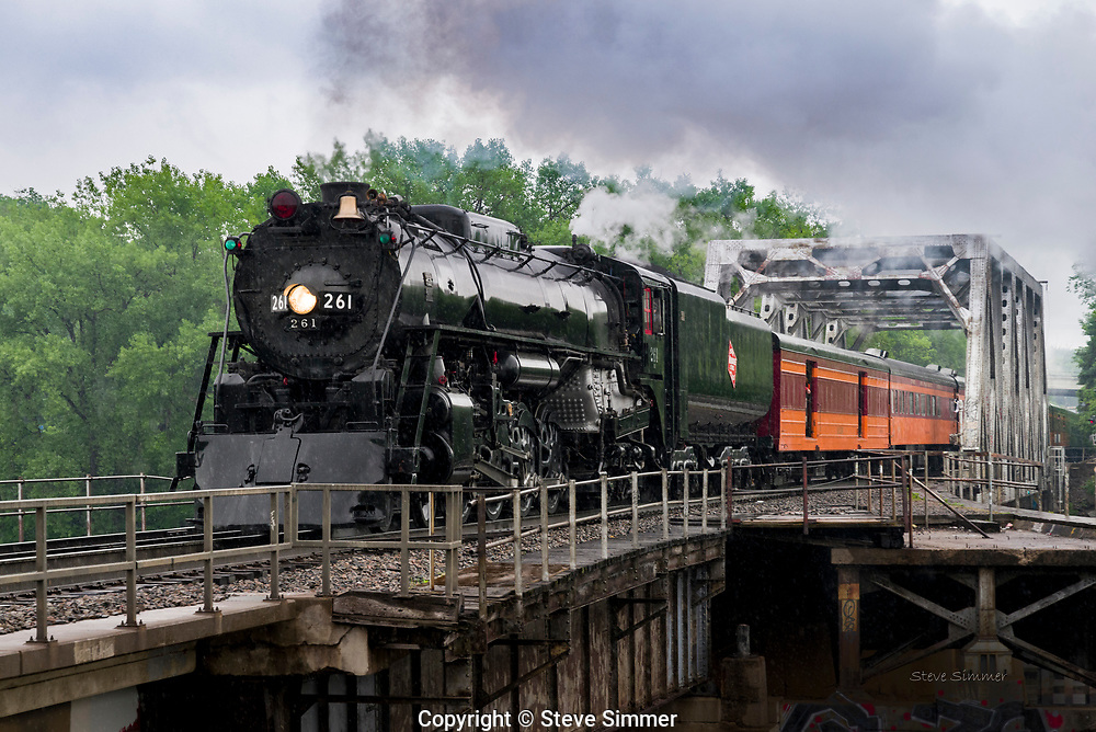 The Milwaukee Road Steam Engine 261 was built in 1944 and retired in 1954. In 1993, it was rebuilt and returned to service as an excursion train.  It is based in Minneapolis.