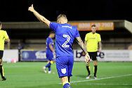 AFC Wimbledon defender Barry Fuller (2) giving a thumbs up during the Pre-Season Friendly match between AFC Wimbledon and Burton Albion at the Cherry Red Records Stadium, Kingston, England on 21 July 2017. Photo by Matthew Redman.