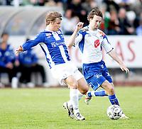 Fotball , <br /> Adeccoligaen , <br /> 04.05.08 , <br /> Sarpsborg stadion , <br /> Sarpsborg Sparta FK - FK Haugesund , <br /> Bjørn Strøm , <br /> Kristoffer Weckstrøm , <br /> Foto: Thomas Andersen / Digitalsport