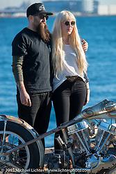 Hanna and Ryan Grossman at the docks before the Mooneyes Yokohama Hot Rod & Custom Show. Yokohama, Japan. December 5, 2015.  Photography ©2015 Michael Lichter.