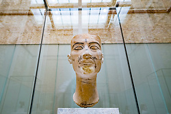 Interior of Neues Museum  with bust of Nefertiti on Museum Island , Museumsinsel, Berlin, Germany