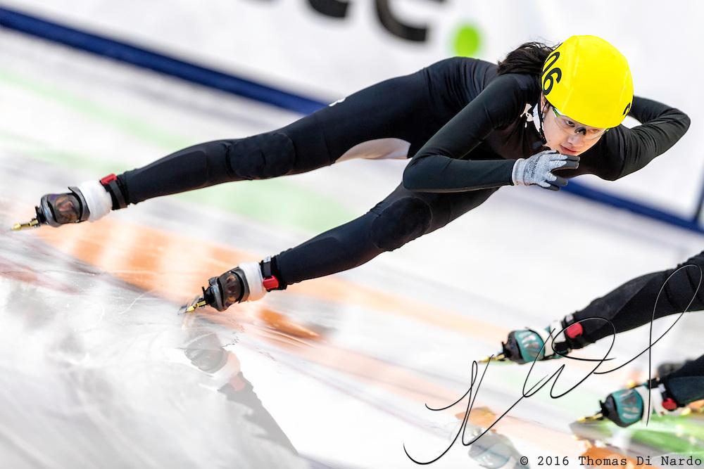 December 17, 2016 - Kearns, UT - Elizabeth Johnson skates during US Speedskating Short Track Junior Nationals and Winter Challenge Short Track Speed Skating competition at the Utah Olympic Oval.
