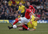 Fotball<br /> Foto: Alan Crowhurst, Digitalsport<br /> Norway Only<br /> <br /> WATFORD V CREWE  Nationwide Division One<br /> 10/04/2004. Gavin Mahon R tackles Dave Brammer L.