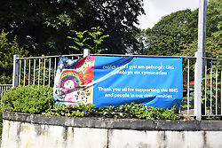 NHS thank you sign outside Tenby cottage hospital, Pembrokeshire South Wales July 2021