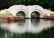 A double arch bridge in Ala Moana Beach Park in Honolulu, Hawaii.