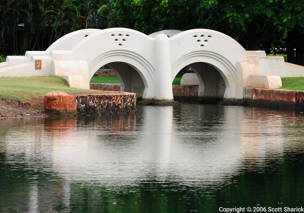 A double arch bridge in Ala Moana Beach Park in Honolulu, Hawaii.