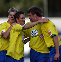 Photo: Paul Thomas.<br /> Grimsby Town v Hereford United. Coca Cola League 2. 08/10/2006.<br /> <br /> Rob Purdie (2nd L) celebrates his goal with Hereford team mates.