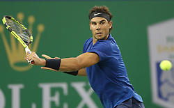 SHANGHAI, Oct. 12, 2017  Rafael Nadal of Spain hits a return during the singles third round match against Fabio Fognini of Italy at 2017 ATP Shanghai Masters tennis tournament in Shanghai, east China, on Oct. 12, 2017. Nadal won 2-0. (Credit Image: © Fan Jun/Xinhua via ZUMA Wire)