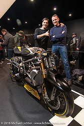 """Johnny and Bart both had a hand in the design of the Ducati Diavel, here with a custom """"Dragster"""" version at Motor Bike Expo. Verona, Italy. January 22, 2016.  Photography ©2016 Michael Lichter."""