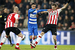 (L-R) Jorrit Hendrix of PSV, Younes Namli of PEC Zwolle, Daniel Schwaab of PSV during the Dutch Eredivisie match between PSV Eindhoven and PEC Zwolle at the Phillips stadium on February 03, 2018 in Eindhoven, The Netherlands