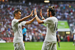 04.08.2015, Allianz Arena, Muenchen, GER, AUDI CUP, Real Madrid vs Tottenham Hotspur, im Bild vl. Denis Cheryshev (Real Madrid) und Gareth Bale (Real Madrid) nach dessen Tor zum 2:0 // during the 2015 AUDI Cup Match between Real Madrid and Tottenham Hotspur at the Allianz Arena in Muenchen, Germany on 2015/08/04. EXPA Pictures © 2015, PhotoCredit: EXPA/ Eibner-Pressefoto/ Stuetzle<br /> <br /> *****ATTENTION - OUT of GER*****