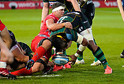 Sale Sharks flanker Jono Ross forces Northampton Saints wing Taqele Naiyaravoro to knock the ball on during the Gallagher Premiership Rugby match Northampton Saints -V- Sale Sharks at Franklin's Gardens, Northamptonshire ,England United Kingdom, Tuesday, September 29, 2020. (Steve Flynn/Image of Sport)