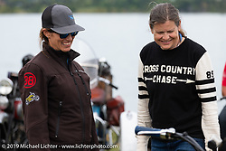 Andrea Labarbara (L) and Cris Sommer-Simmons in Aune Osborne Park in Sault Sainte Marie, the site of the official start of the Cross Country Chase motorcycle endurance run from Sault Sainte Marie, MI to Key West, FL. (for vintage bikes from 1930-1948). Thursday, September 5, 2019. Photography ©2019 Michael Lichter.