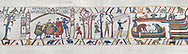 Bayeux Tapestry scene 35:  Duke William reacts to Harold's Corination by ordering an invasion fleet to be built. BYX35 .<br /> <br /> If you prefer you can also buy from our ALAMY PHOTO LIBRARY  Collection visit : https://www.alamy.com/portfolio/paul-williams-funkystock/bayeux-tapestry-medieval-art.html  if you know the scene number you want enter BXY followed bt the scene no into the SEARCH WITHIN GALLERY box  i.e BYX 22 for scene 22)<br /> <br />  Visit our MEDIEVAL ART PHOTO COLLECTIONS for more   photos  to download or buy as prints https://funkystock.photoshelter.com/gallery-collection/Medieval-Middle-Ages-Art-Artefacts-Antiquities-Pictures-Images-of/C0000YpKXiAHnG2k