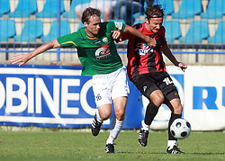 Miha Golob (16) of Rudar and Nedzad Serdarevic (10) of Primorje at 6th Round of PrvaLiga Telekom Slovenije between NK Primorje Ajdovscina vs NK Rudar Velenje, on August 24, 2008, in Town stadium in Ajdovscina. Primorje won the match 3:1. (Photo by Vid Ponikvar / Sportal Images)