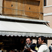 Musicians play in front of a cafe near Piazza San Marco. Venice, Italy. 1st May 2011. Photo Tim Clayton