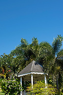 Tropical plants around a Victorian style gazebo in Hyde Park Garden, St. George's, Grenada, West Indies, The Caribbean