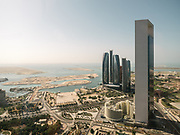 Aerial view of the futuristic Etihad Towers.
