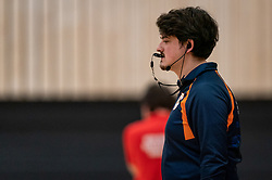 Referee Marc Brugghe in action during the first league match between Laudame Financials VCN vs. Apollo 8 on February 06, 2021 in Capelle aan de IJssel.