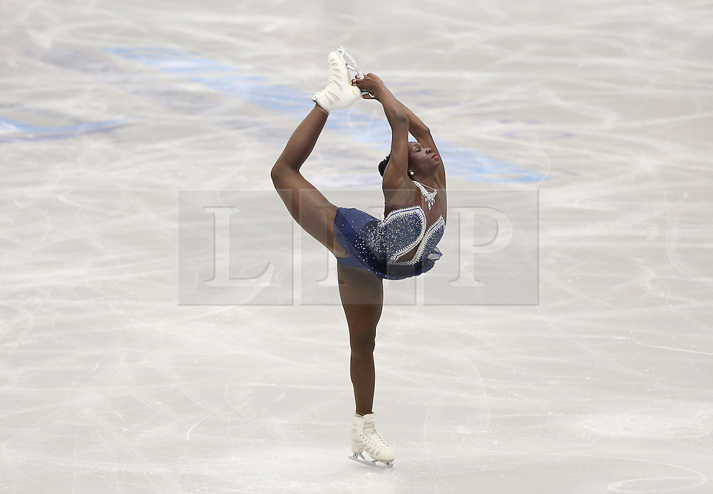 © Licensed to London News Pictures. 27/01/2017. Ostrava, CZ. Olympic athlete Mae Berenice MEITE, from France, performs her Ladies Free Skating routine during the ISU European Figure Skating Championships in the Ostrava Arena in Ostrava, Czech Republic, on Friday January 27, 2017. Photo credit: Isabel Infantes/LNP