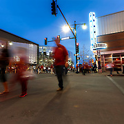 Crosswalk at 13th and Grand in downtown Kansas City during the NCAA Big 12 Basketball Tournament.