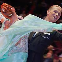 Denis Donskoy & Maria Galtseva from Russia perform their dance during the International Championships held at the Brentwood Centre in Brentwood, United Kingdom on Wednesday, 14. October 2009. ATTILA VOLGYI