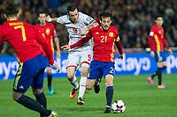 Macedonia's Llija Mestorovski Spain's David Silva  during the match of European qualifying round between Spain and Macedonia at Nuevo Los Carmenes Stadium in Granada, Spain. November 12, 2016. (ALTERPHOTOS/Rodrigo Jimenez)