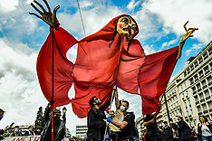 Greek artists protest, Athens, 7 May 2020
