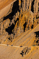 Jeeps crossing over 11, 814 foot Ophir Pass, southwest Colorado USA.