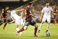 Real Madrid´s Isco (L) and F.C. Barcelona´s Leo Messi during the Spanish Copa del Rey `King´s Cup´ final soccer match between Real Madrid and F.C. Barcelona at Mestalla stadium, in Valencia, Spain. April 16, 2014. (ALTERPHOTOS/Victor Blanco)