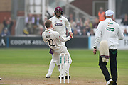 Wicket - Dom Bess of Somerset celebrates taking the wicket of Middlesex's Adam Vogues during the Specsavers County Champ Div 1 match between Somerset County Cricket Club and Middlesex County Cricket Club at the Cooper Associates County Ground, Taunton, United Kingdom on 26 September 2017. Photo by Graham Hunt.