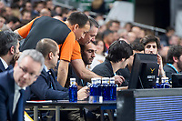 Referee team Sergio Silva and Sreten Radovic using hawk-line system during Turkish Airlines Euroleague match between Real Madrid and FC Barcelona Lassa at Wizink Center in Madrid, Spain. December 14, 2017. (ALTERPHOTOS/Borja B.Hojas)