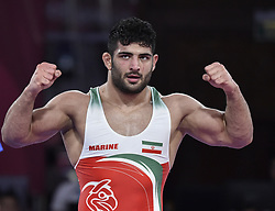 Jakarta, Aug. 19, 2018  Alireza Karimimachiani of Iran reacts during Men's Wrestling Freestyle 97 kg Final against Magomed Musaev of Kyrgyzstan at the 18th Asian Games at Jakarta, Indonesia, Aug. 19, 2018. (Credit Image: © Lihe/Xinhua via ZUMA Wire)