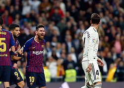March 2, 2019 - Madrid, Spain - Real Madrid CF's Sergio Ramos and FC Barcelona's Lionel Messi during La Liga match between Real Madrid and FC  Barcelona at Santiago Bernabéu in Madrid..Final Score: Real Madrid 0 - 1 FC Barcelona (Credit Image: © Manu Reino/SOPA Images via ZUMA Wire)