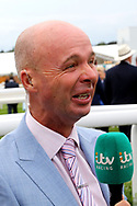 ITV Racing Presenter Luke Harvey on air during the Yorkshire Ebor Festival, Darley Yorkshire Oaks, at York Racecourse, York, United Kingdom on 23 August 2018. Picture by Mick Atkins.
