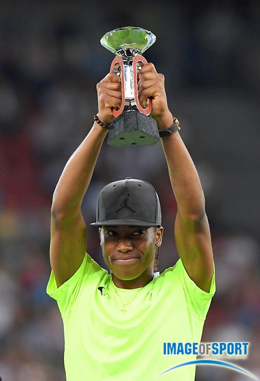 Sep 1, 2015; Zurich, SWITZERLAND; Omar McLeod (JAM) poses with the IAAF Diamond League 110m hurdles champion trophy at the 2016 Weltklasse Zurich during an IAAF Diamond League meeting at Letzigrund Stadium. Photo by Jiro Mochizuki