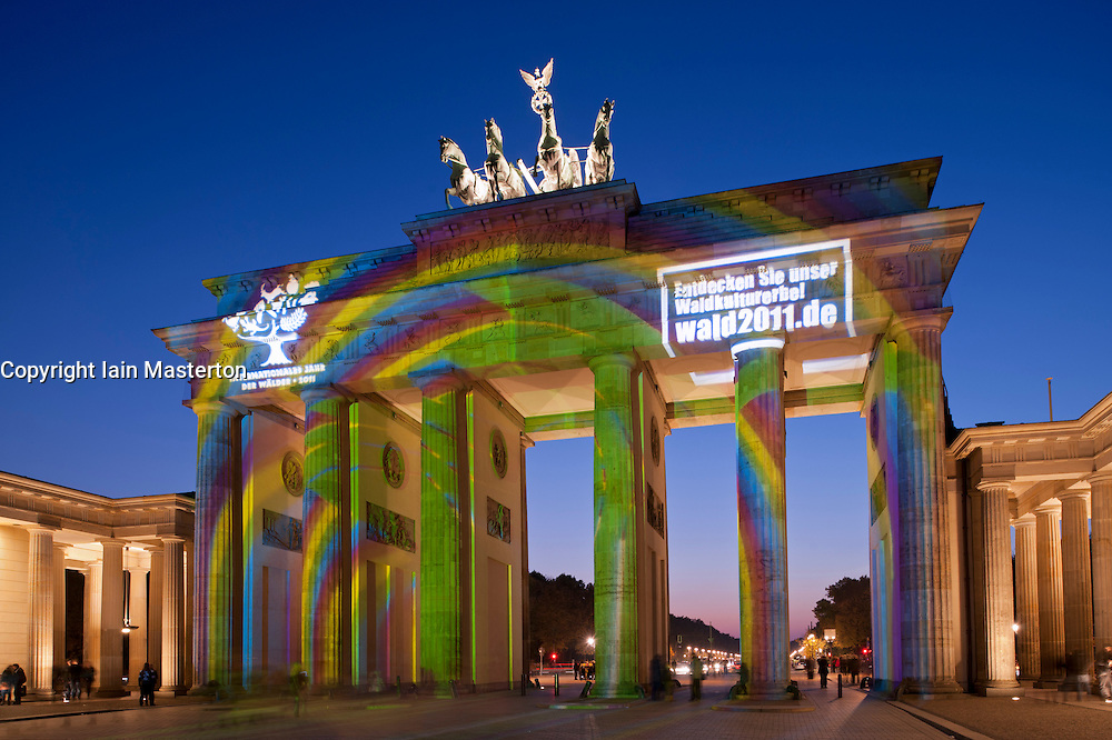 Brandenburg Gate illuminated during Festival of Lights in Berlin Germany