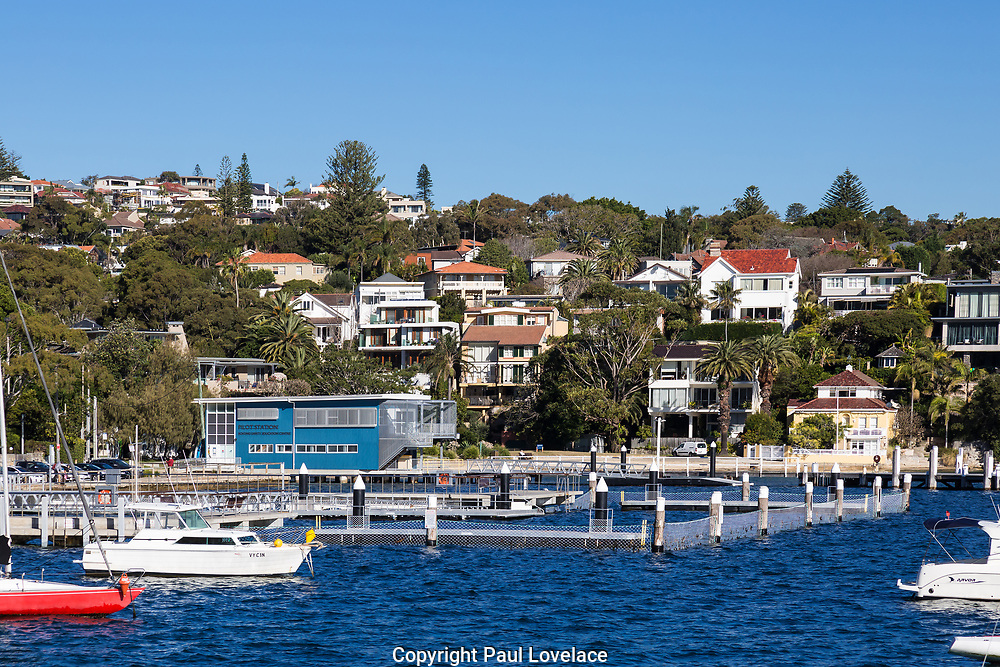 Views of Watsons Bay showing the harbour, yachts moored and Vaucluse Yacht Club, Sydney.