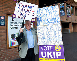 September 17, 2016 - London, England, United Kingdom - Image ©Licensed to i-Images Picture Agency. 17/09/2016. London, United Kingdom. A UKIP supporter holding placards on the second day of the UKIP conference in Bournemouth. Picture by i-Images (Credit Image: © i-Images via ZUMA Wire)