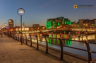 The Custom house over the River Liffey at dusk in downtown Dublin, Ireland