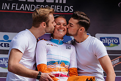Chantal Blaak receives kisses from the podium boys - Women's Gent Wevelgem 2016, a 115km UCI Women's WorldTour road race from Ieper to Wevelgem, on March 27th, 2016 in Flanders, Belgium.