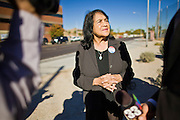 """07 DECEMBER 2010 - PHOENIX, AZ:  DOLORES HUERTA talks to a Spanish language television reporter during a protest in support of the DREAM Act at the offices of US Sen. John McCain in Phoenix Tuesday. Huerta, who started working in the civil rights movement in the 1960's, threw her support behind students fasting on behalf of the DREAM Act in front of Sen. John McCain's office Tuesday. The student picked McCain's office because he used to support the DREAM Act. They hope that the US Senate will pass the DREAM Act during its """"lame duck"""" session. The Senate debated and defeated similar legislation just before the November general election. PHOTO BY JACK KURTZ"""