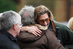 © licensed to London News Pictures. London, UK 03/01/2014. Nick Reynolds, son of Bruce Reynolds who was the ringleader of the Great Train Robbery attending to the funeral of Great Train Robber Ronnie Biggs at Golders Green crematorium in north London. Biggs died on December 18, 2013 aged 84 after famously spent 35 years on the run from prison. Photo credit: Tolga Akmen/LNP