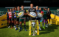 (From left to right) Worcester Warriors' Doncha O'Callaghan, Gloucester Rugby's Ross Moriarty, Newcastle Falcons' Toby Flood, Bath Rugby's Anthony Watson, Northampton Saints' Dylan Hartley, Leicester Tigers' Ben Youngs, Exeter Chiefs' Jack Nowell, Sale Sharks James O'Connor, Harlequins' Danny Care, London Irish's Topsy Ojo, Saracens''Jamie George, Wasps' James Haskell, during the Aviva Premiership season launch at Twickenham Stadium, London.