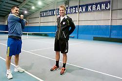 Exhibition game between Gregor Zemlja and Blaz Kavcic playing doubles with Ales Poljak and Ziga Golob on January 28, 2014 in TC Kranj, Kranj, Slovenia. (Photo By Urban Urbanc / Sportida)