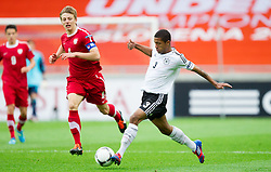 Gracjan Horoszkiewicz of Poland vs Jeremy Dudziak of Germany during the UEFA European Under-17 Championship Semifinal match between Germany and Poland on May 13, 2012 in SRC Stozice, Ljubljana, Slovenia. Germany defeated Poland 1-0 and qualified to finals. (Photo by Vid Ponikvar / Sportida.com)