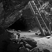 This stairway is located in one of the many lava tubes one can explore in Lava Beds National Monument in North East California.